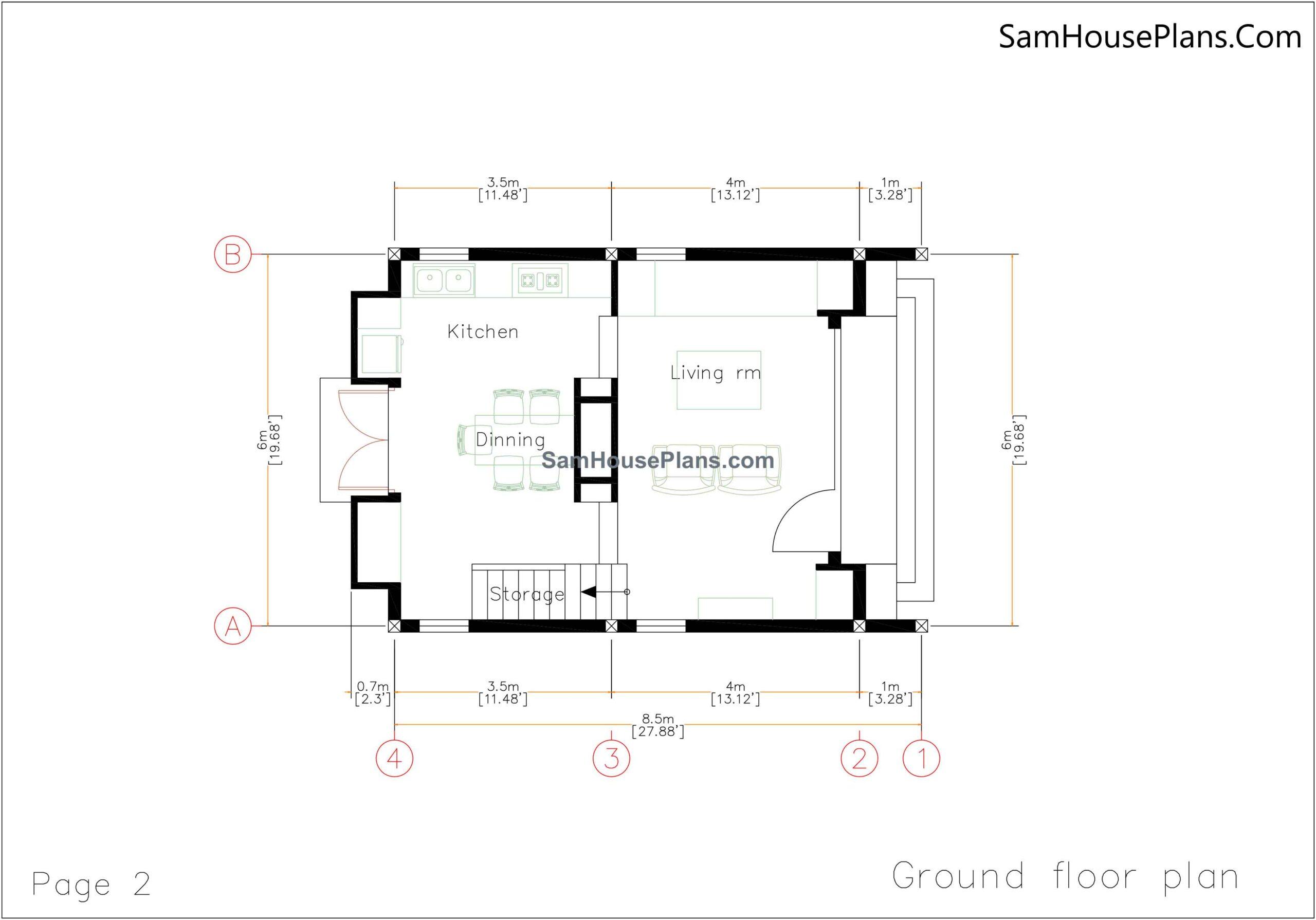 02 Ground Floor Plan 20x30 Small House Plan 6x8.5m