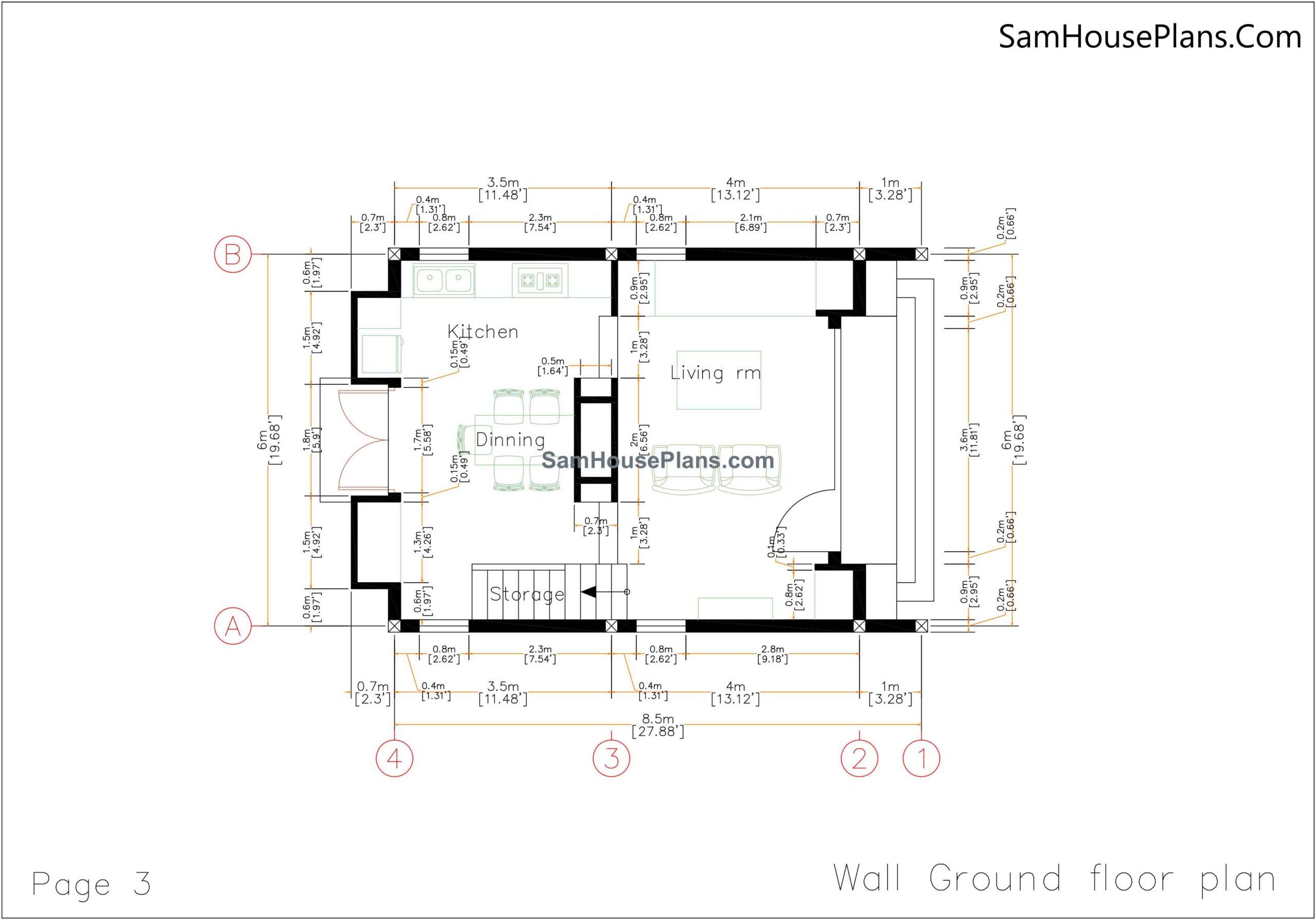 03 wall ground Floor Plan 20x30 Small House Plan 6x8.5m