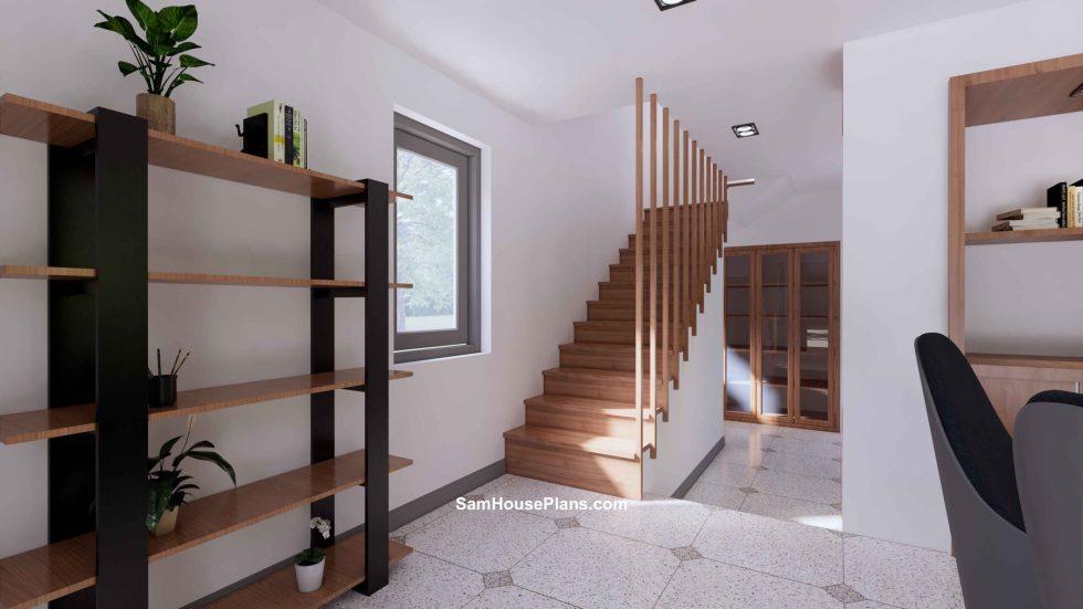 20x30 Small House Plan 6x8.5m PDF Full Plans Interior Stair