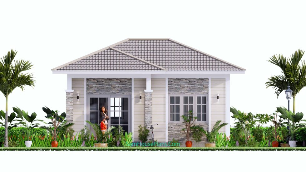 23x19 Small House Design 7x6 M PDF Full Plans Front