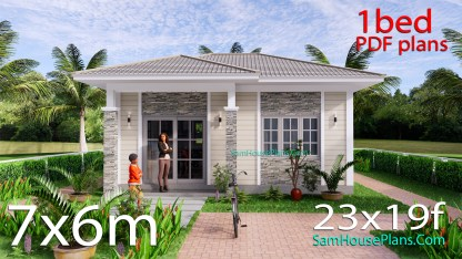 23x19 Small House Design One Bedroom PDF Full Plans