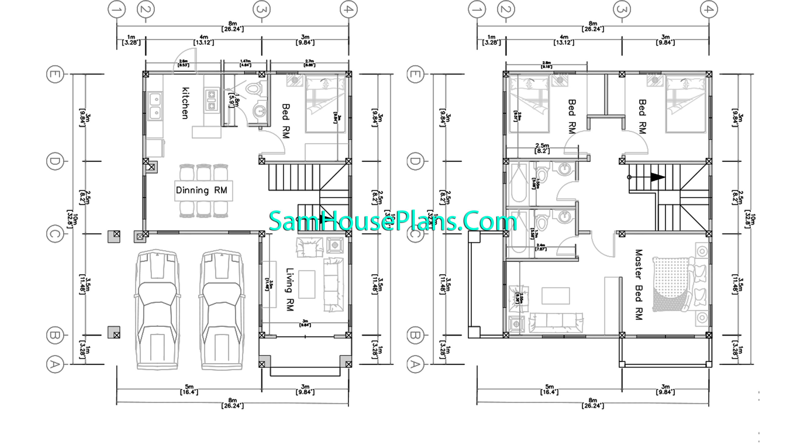 8x10 Small House Design 4 Beds Shed Roof 3d floor plan