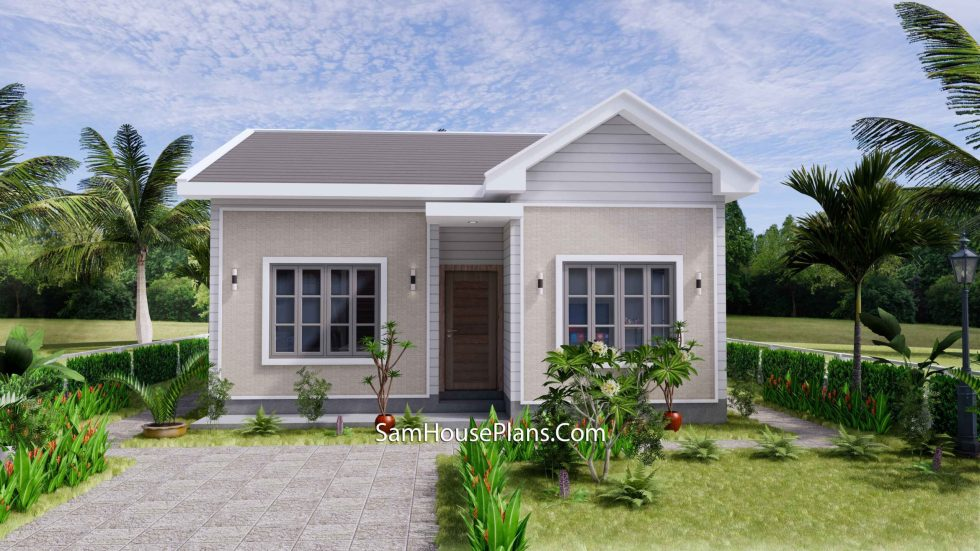 Small House Design 27x30 with 2 Beds Gable Roof 3d front