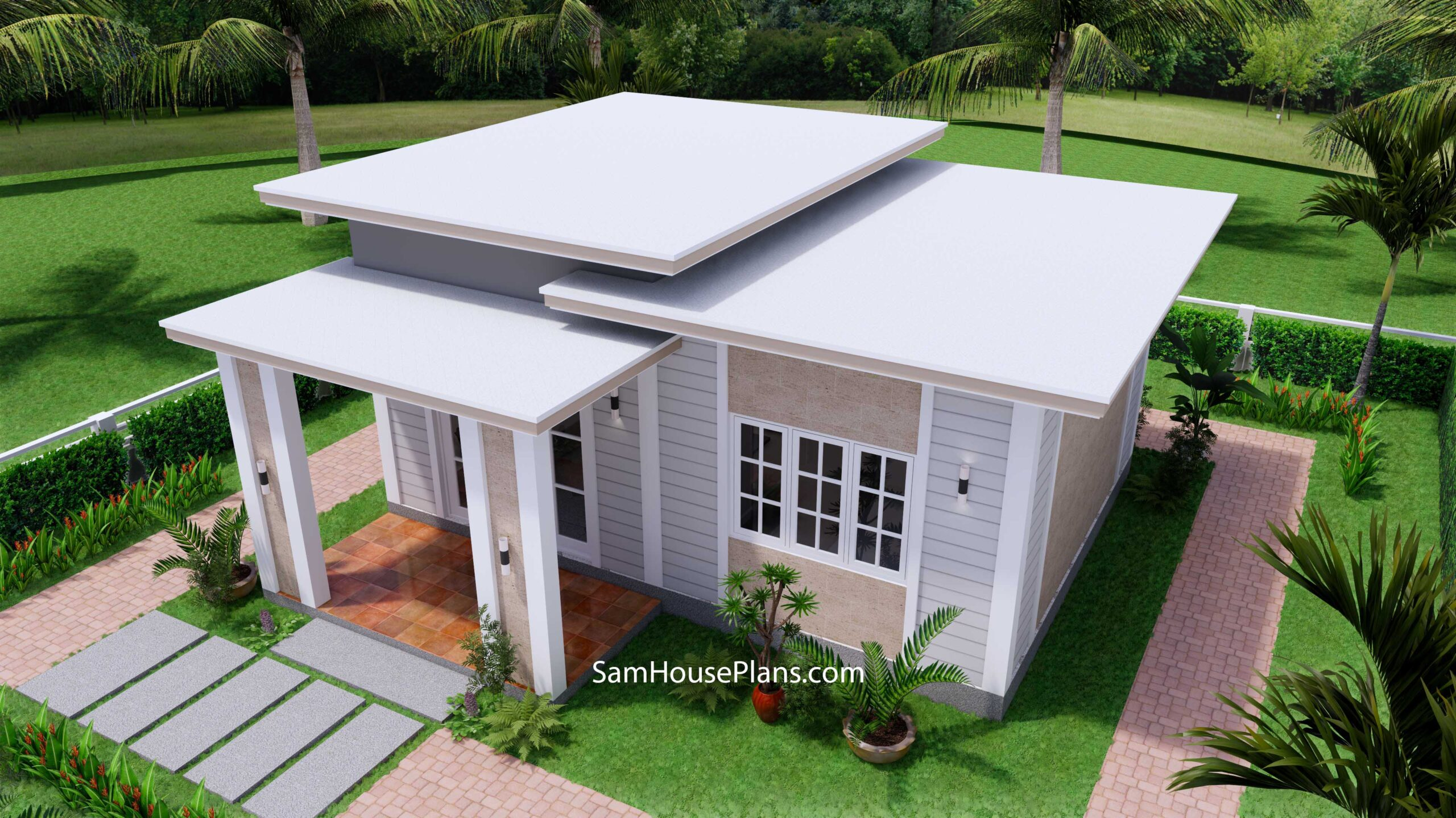 Small House Design 7x7 with 1 Bedrooms Flat Roof 5