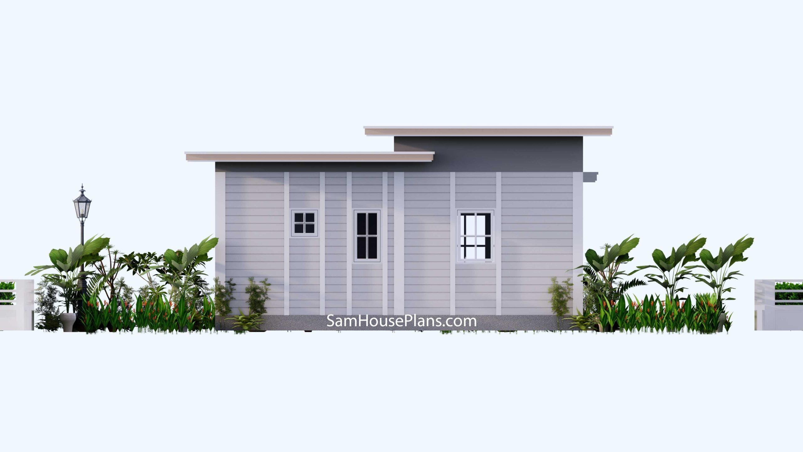 Small House Design 7x7 with 1 Bedrooms Flat Roof Back view