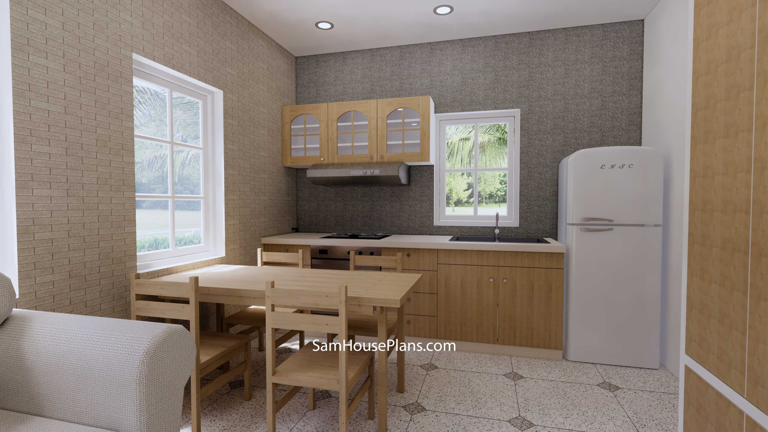 Small House Design 7x7 with 1 Bedrooms Flat Roof dining