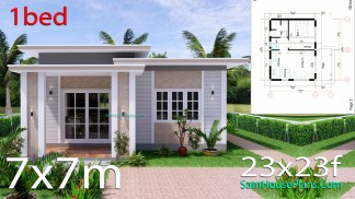 Small House Design 7x7 with 1 Bedrooms Flat Roof