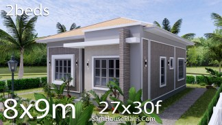 Small House Plan 8x9 with 2 Beds Hip Roof 3d