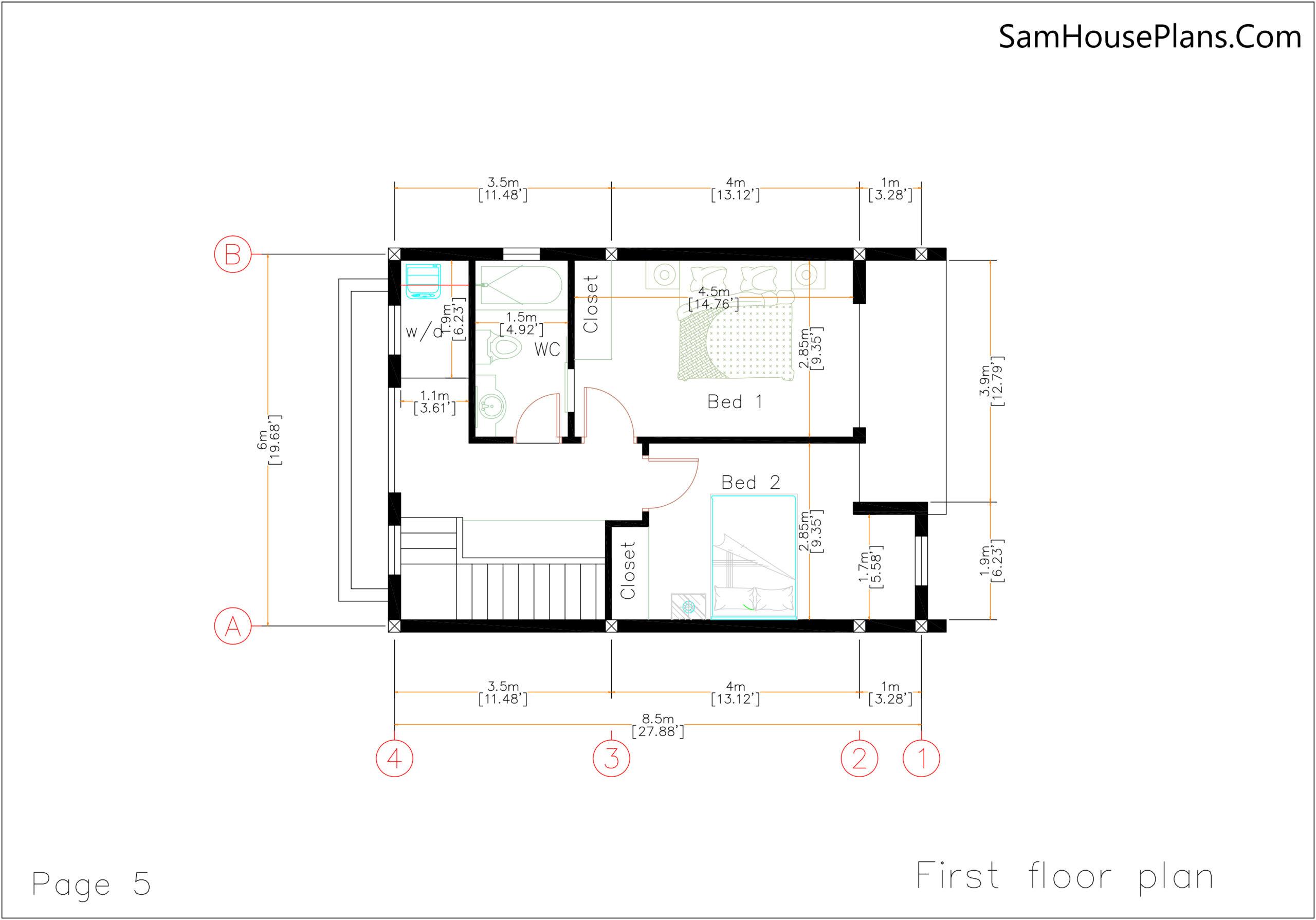 20x28 House Design Plan 6x8.5m PDF Full Plans First floor