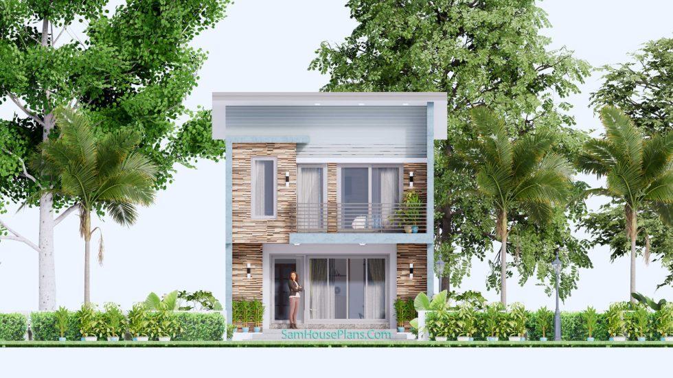 20x28 House Design Plan 6x8.5m PDF Full Plans Front