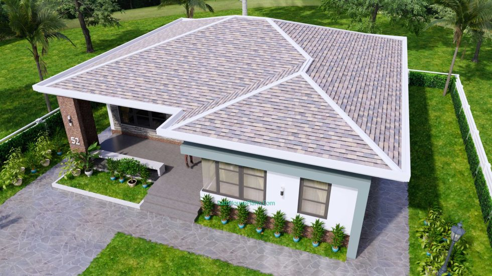 House Design Plans 12x12 Hip Roof 2 Bedrooms 4