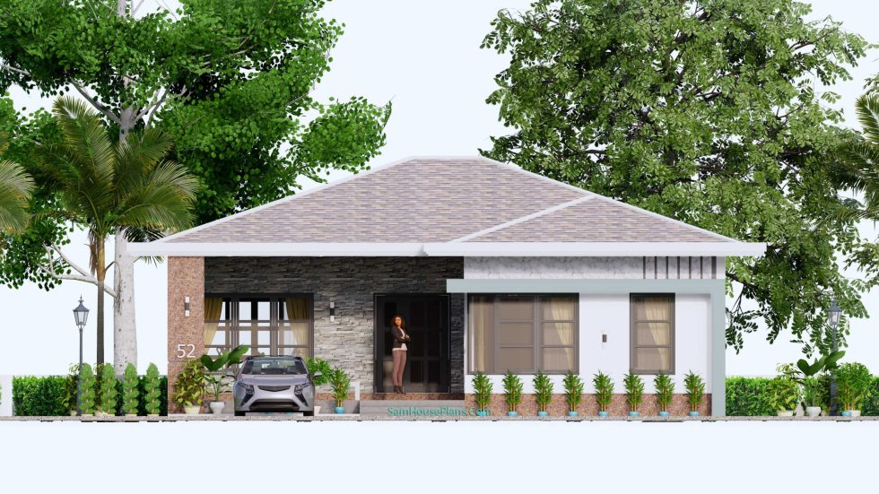 House Design Plans 12x12 Hip Roof 2 Bedrooms Front view