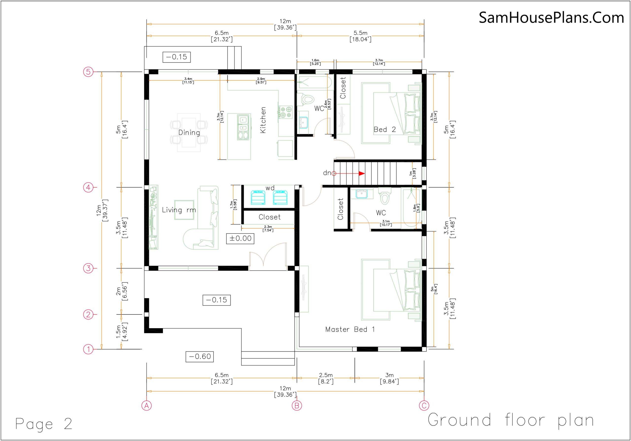 House Design Plans 12x12 Hip Roof 2 Bedrooms floor plan
