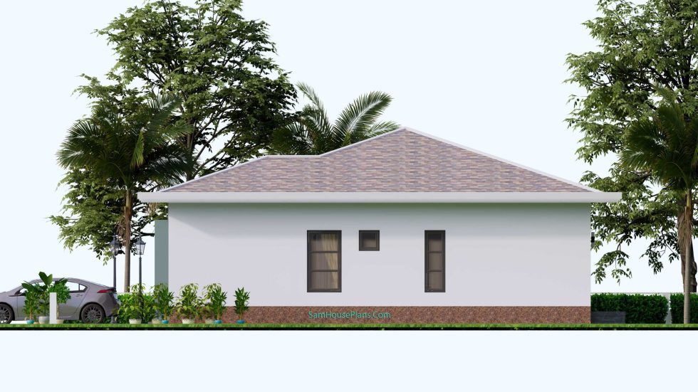 House Design Plans 12x12 Hip Roof 2 Bedrooms Right view