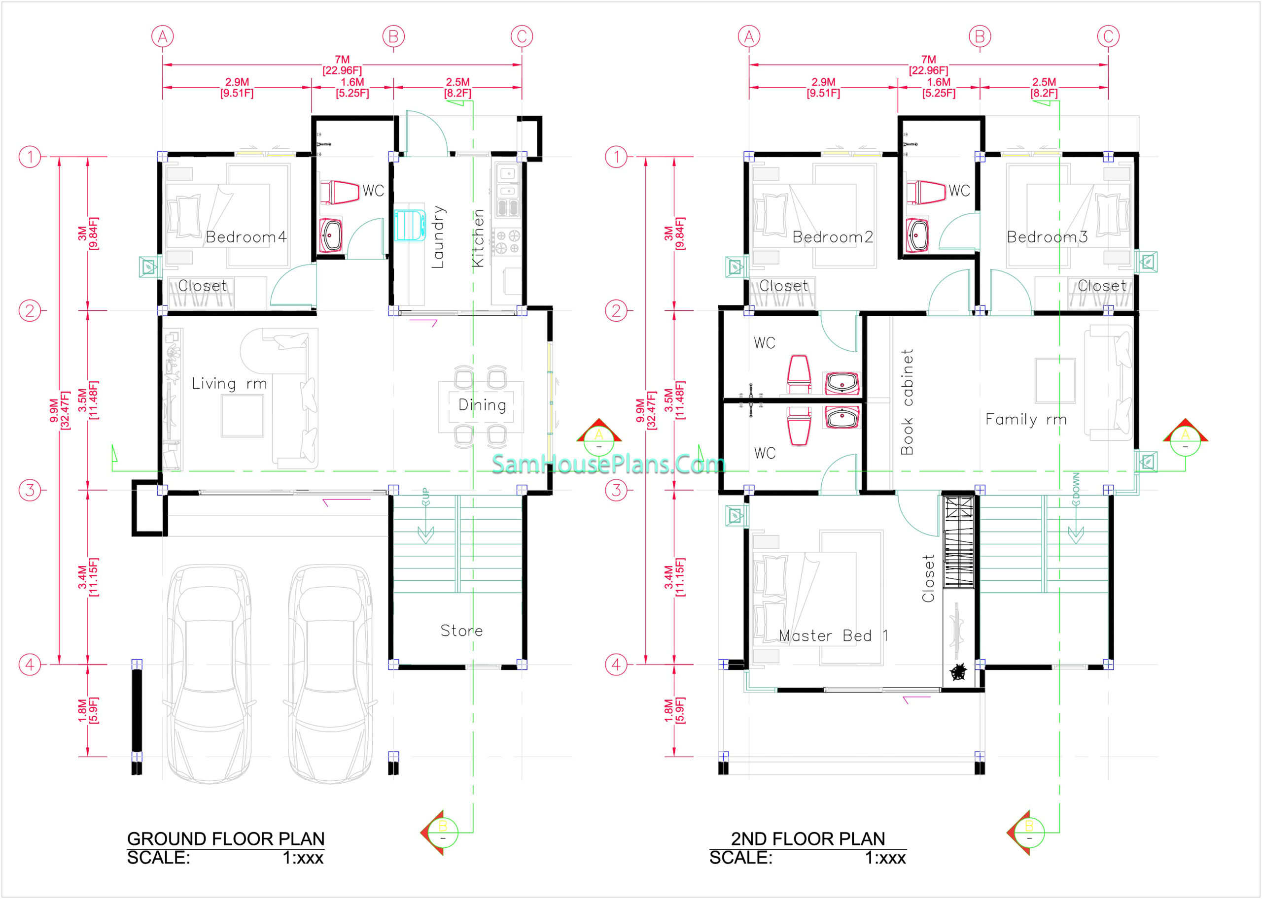 House Design Plans 7x11.7 Shed Roof 4 Beds PDF Full Plans Layout floor plan