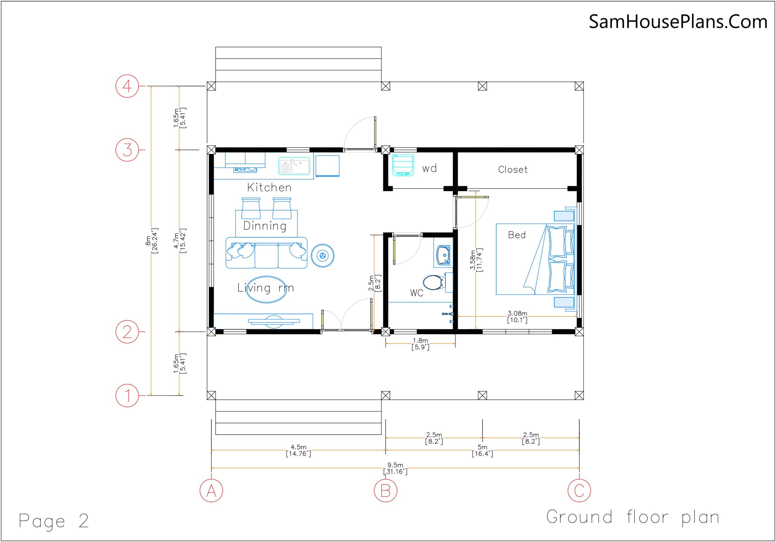 Small House Plans 32x16 Shed Roof 1 Bed PDF Plan Layout floor plan