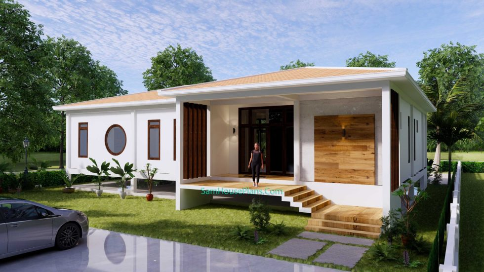 House Design Plan 17x13 with 3 Bedrooms 53x43 Feet 1