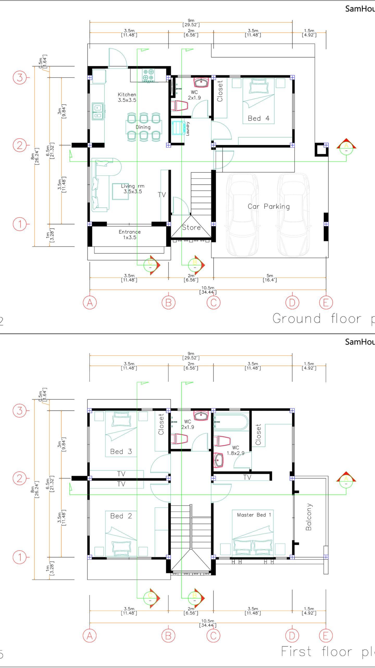 House Design Plans 10.5x8 Meters 4 Bedrooms Layoput floor plan all