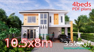 House Design Plans 10.5x8 Meters 4 Bedrooms