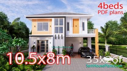 House Design Plans 10.5x8 Meters 4 Bedrooms
