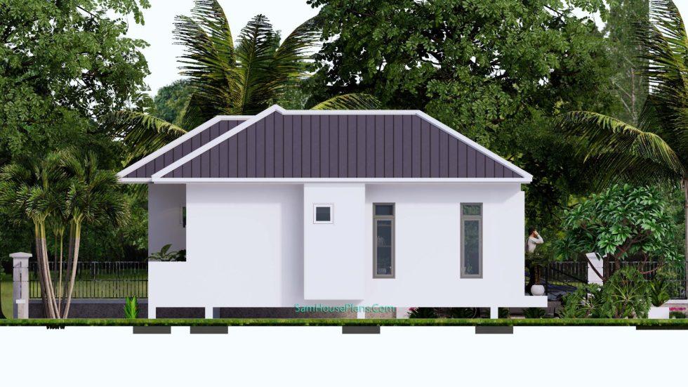 House Design Plans 11x10.5 Hip Roof 2 Bedrooms Elevation Left