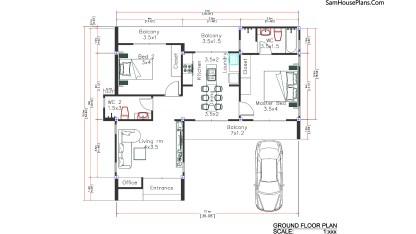 Layout floor plan 11x10.5 meters