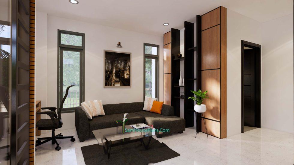 Modern House Plans 11x10.5 Flat Roof Living room 3