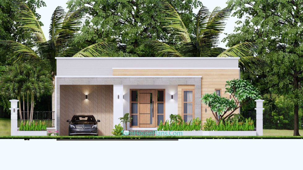 House Design Plans 11x11 meter 3 Bedrooms Elevation Front