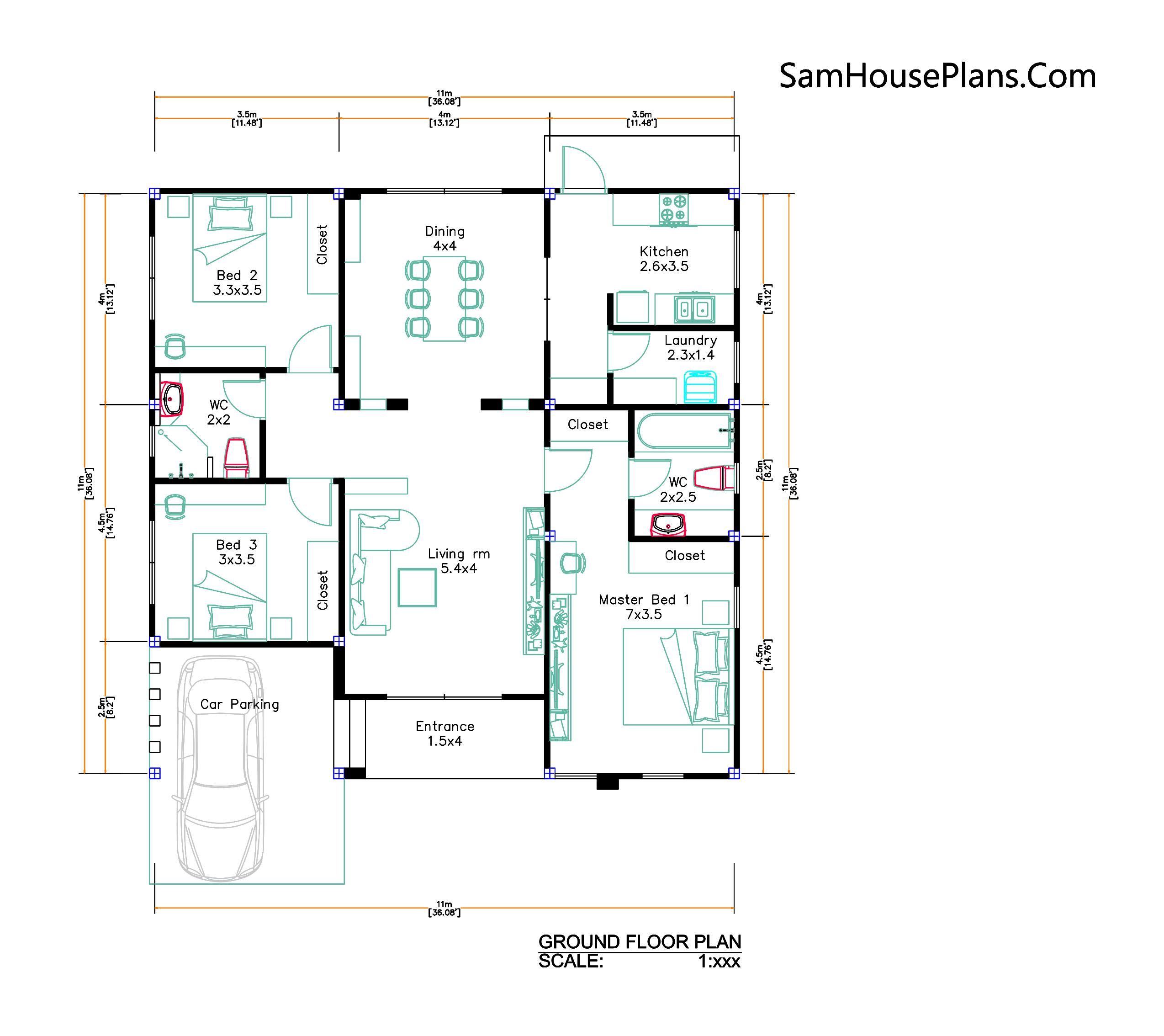 House Design Plans 11x11 meter 3 Bedrooms PDF Plans floor plan