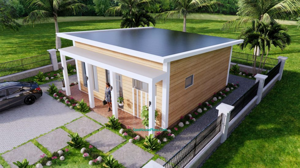 7x8M Small House Design One Bedroom Free Plans 3d 5