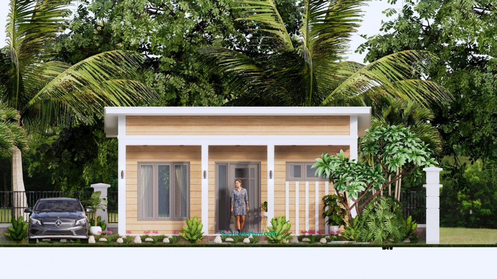 7x8M Small House Design One Bedroom Free Plans 3d elevation front
