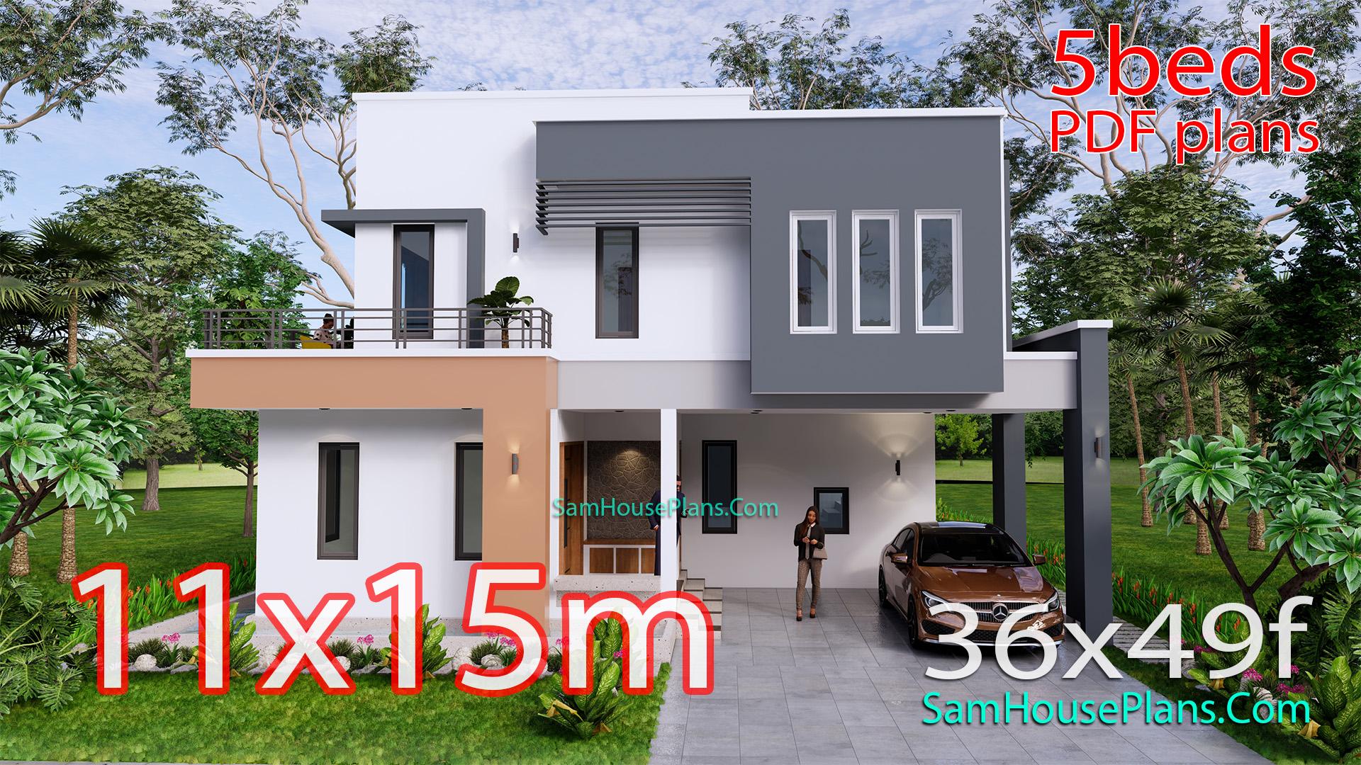 House Design Plan 11x15 Meter 5 Bedrooms 36x49 Feet Samhouseplans