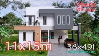 House Design Plan 11x15 Meter 5 Bedrooms 36x49 Feet