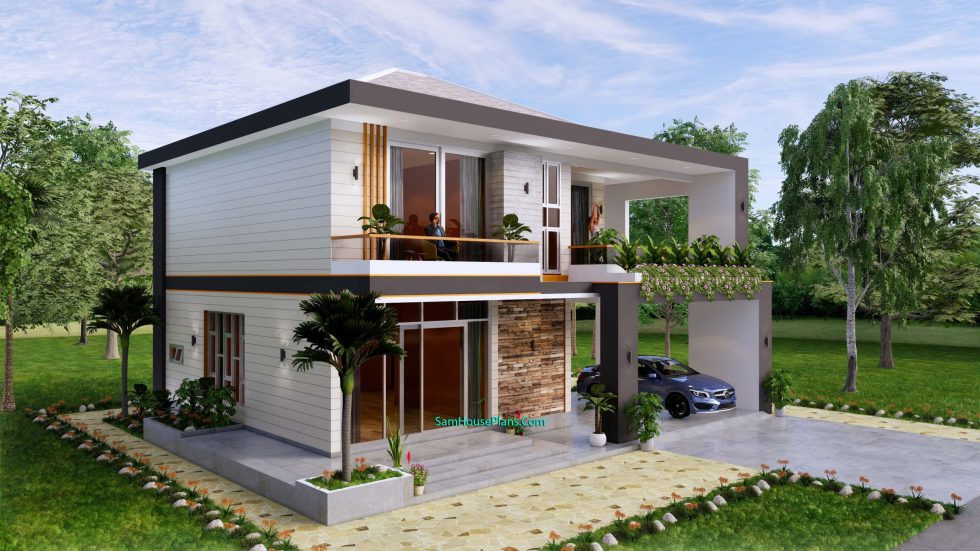 House design plans 12x11 m with 4 Bedrooms Pdf Full Plan Front view 2
