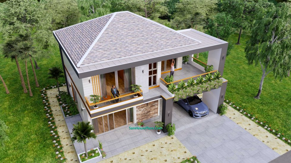 House design plans 12x11 m with 4 Bedrooms Pdf Full Plan Front view 4