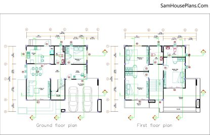 House design plans 12x11 m with 4 Bedrooms Pdf Full Plan Layout plan
