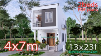 Small House Design 4x7 Meter 56sqm 2 Bedrooms
