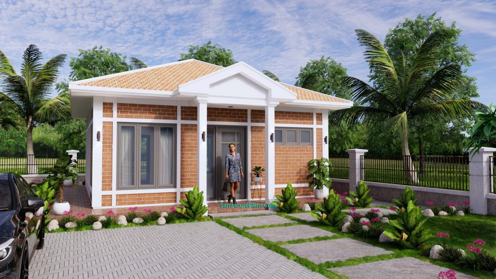 Small House Design 7x7M with One Beds Full Layout 1