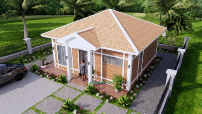 Small House Design 7x7M with One Beds Full Layout 4
