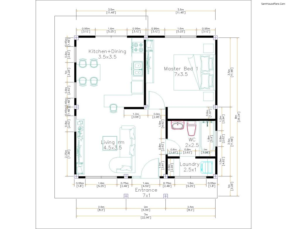 Small House Design 7x7M with One Beds Full Layout floor plan