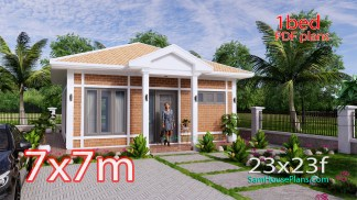 Small House Design 7x7M with One Beds Full Layout