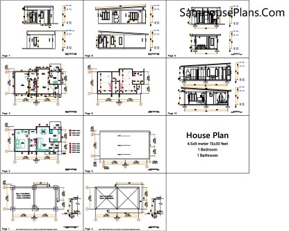 Small House Plan 4.5x9 Meter One Bedroom PDF Plan All layout plan