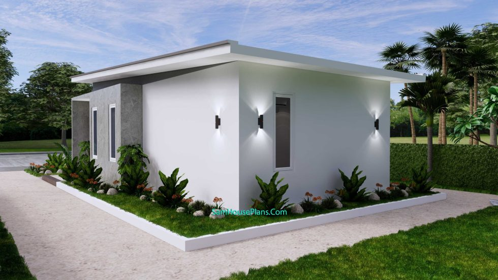 Small House Plan 4.5x9 Meter One Bedroom PDF Plan back right 3d