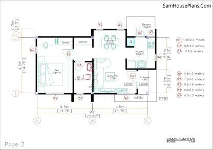 Small House Plan 4.5x9 Meter One Bedroom PDF Plan floor plan