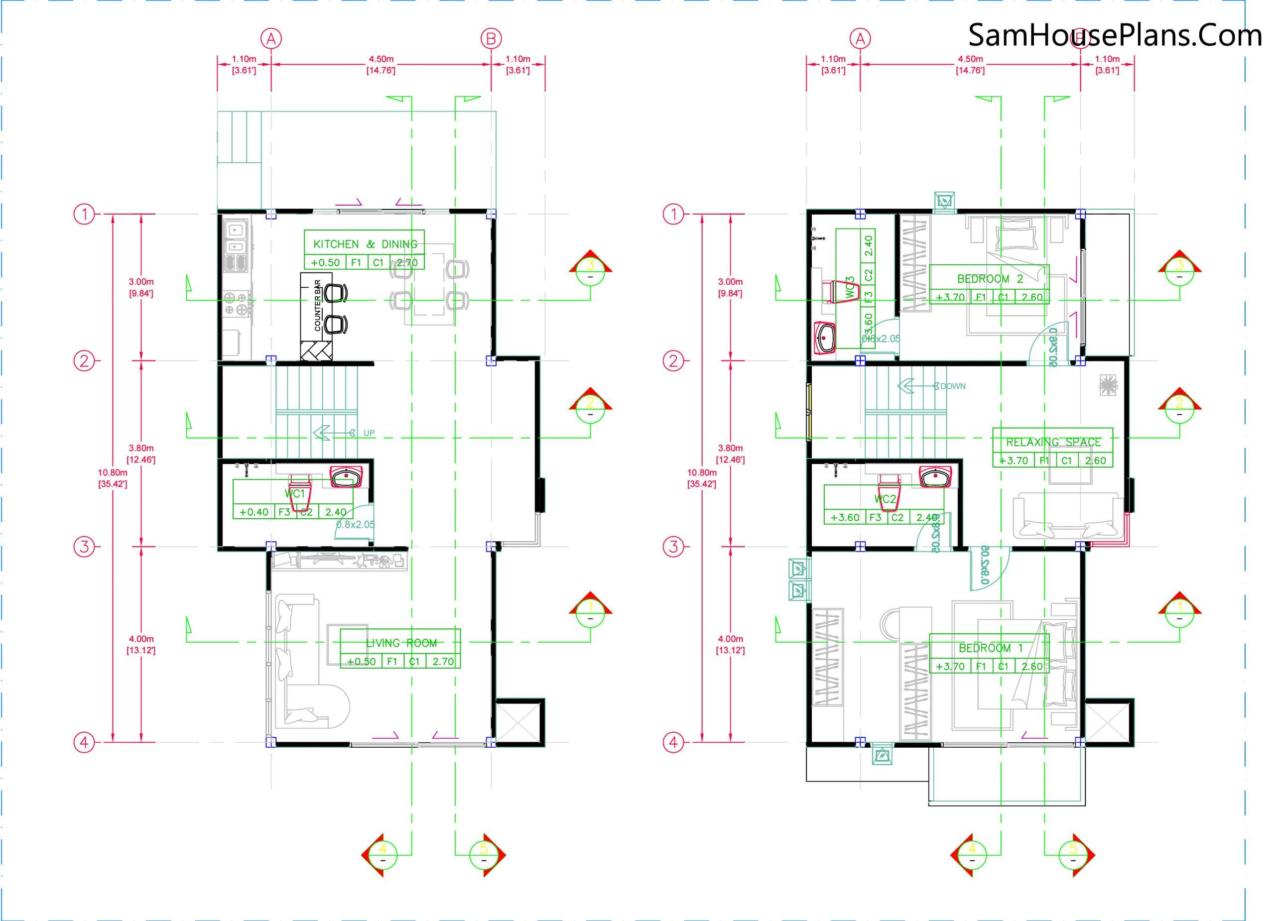 Small House Plan 6.7x10.8 layout plan