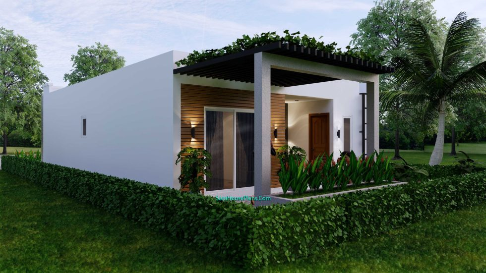 Small House Plan 8x12 M with 2 Bedrooms PDF Full Plans Back 3d 2