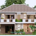 House Design Plan 11.5x9 Meter with 3 Beds Full PDF Plan Elevation Front 3d