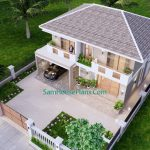 House Design Plan 11.5x9 Meter with 3 Beds Full PDF Plan Front Right roof 3d