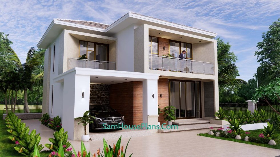 House Design Plan 9.5x11 M with 3 Bedrooms PDF Full Plans Front view 1