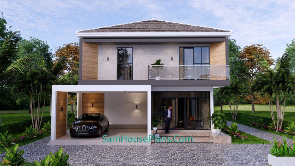 House Plans 9.5x11 Meter 3 Bedrooms Full PDF Plan Front 3d 2
